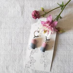 orecchini cilindro rosa grigio