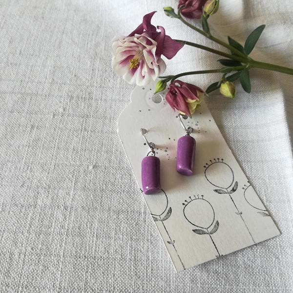 orecchini cilindro viola ciclamino