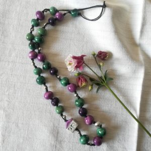 collana microcasetta viola verde